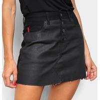 Saia Ellus Curta Leather Denim Ly (Higher Mini) V Botões - Feminino-Oliva