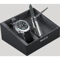 Kit De Relógio Analógico Seculus Masculino + Canivete - 20751G0Svni1K Prateado - Único