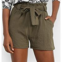 Shorts Lily Fashion Clochard Linho Feminino - Feminino-Verde