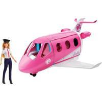 Boneca Barbie Jatinho De Aventuras Com Acessórios Mattel - Feminino-Rosa+Branco