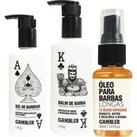 Kit Barbas Longas Balm + Gel De Barbear 140G + Óleo Barbas Longas 30 Ml - Unissex-Branco