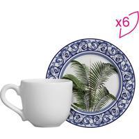 Conjunto De Xícaras De Café Palmeiras- Branco & Verde
