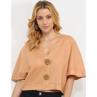 Blusa Cropped Morena Rosa Viscolinho Botões Rústicos Feminina - Feminino-Marrom Claro