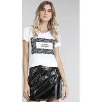 "Blusa Feminina ""Girls Do Not Dress For Boys"" Manga Curta Decote Redondo Off White"