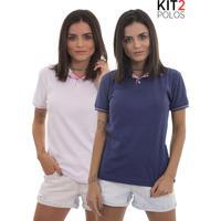 Kit 2 Polos Femininas Lagoon Tigs - Roxo E Rosa Claro-G