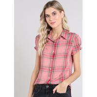 Camisa Feminina Estampada Xadrez Manga Curta Rosa