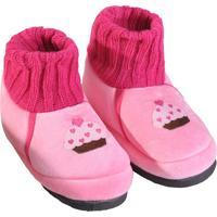 Pantufa Infantil Feminina Em Pelúcia Para Inverno - Rosa Cupcake