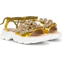 Nº21 Sandália Com Efeito De Brilho - Dourado
