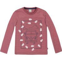 Camiseta Listrada- Vermelha & Bege- Teen- Pucpuc