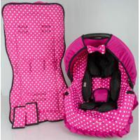 Conjunto De Capa Bebê Conforto E Capa De Carrinho E Acolchoado- Pink Bola Branca Alan Pierre Baby