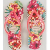 Chinelo Havaianas Feminino Slim Estampado Floral Rosa
