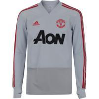 Camisa De Treino Manga Longa Manchester United 19/20 Adidas - Masculina - Cinza Claro