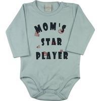Body Bebê Suedine Moms Star Player Ano Zero - Masculino-Azul
