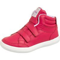 Tênis Sneaker Kea Couro Infantil Cano Alto Perfuros Vermelho