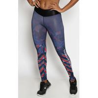Legging Em Cirrãª- Azul Marinho & Laranja Escuro- Phyphysical Fitness