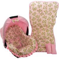 Conjunto Capa De Bebê Conforto E Capa De Carrinho Alan Pierre Baby 0 A 13 Kg - Ursinho Rosa