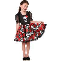 Fantasia De Caveira Mexicana Jardineira De Halloween Infantil Feminino