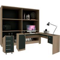 Conjunto De Escritório Em L Home Office Avelã E Ônix