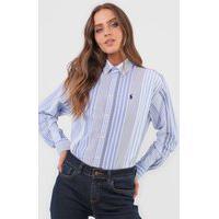 Camisa Polo Ralph Lauren Listrada Branca/Azul