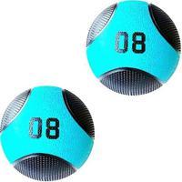 Kit 2 Medicine Ball Liveup Pro E 8 Kg Bola De Peso Treino Funcional - Unissex