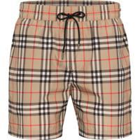Burberry Checked Swim Shorts - Marrom