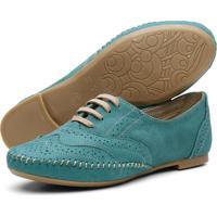 Sapato Oxford Casual Conforto Em Couro Q&A 15360 Azul Turquesa