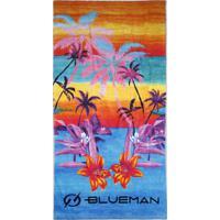 Toalha De Praia Blueman Com Estampa Poente Tropical Azul
