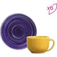Jogo De XãCaras De Chã¡ Spiral- Roxo & Amarelo- 6Pã§S