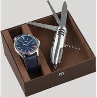 Kit De Relógio Analógico Mondaine Masculino + Canivete - 83375G0Mvnh2Ka Azul - Único