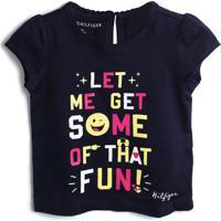 Camiseta Tommy Hilfiger Kids Menino Escrita Azul-Marinho