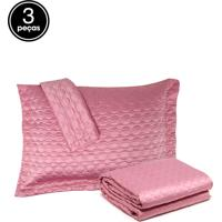 Kit Colcha Queen 3Pçs Corttex Home Design Micromatelassê Rosa