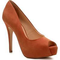 Peep Toe Couro Shoestock Meia Pata - Feminino