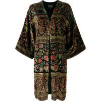 Etro Kimono De Veludo Com Paisley - Preto