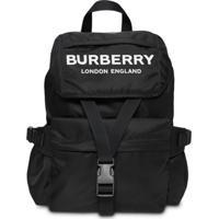 Burberry Mochila De Nylon Com Estampa De Logo - Preto