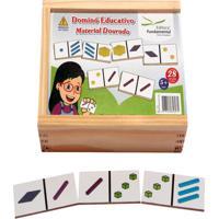 Dominó Educativo Material Dourado Jogo Com 28 Peças - Fundamental