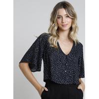 Blusa Feminina Cropped Com Botões Estampada De Poá Manga Curta Decote V Preta