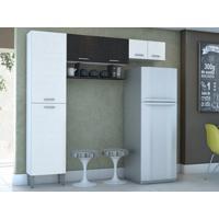 Cozinha Compacta Cris 6 Portas Linho Branco/Preto - Lc Móveis