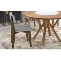 Cadeira Para Sala Boni Estofada - Verniz Capuccino - Tec. 154B Cinza Claro - 42X49X82 Cm