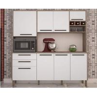Cozinha Ágata Com 8 Portas Nogal/Branco – Lc Móveis