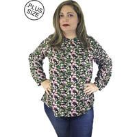 Blusa Mazal Viscose Estampada Com Botão Gola Floral