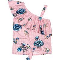 Blusa Floral Com Babado- Rosa Claro & Azul- Marisolmarisol
