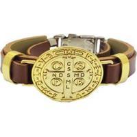 Bracelete Couro Via Luna Religião Masculino - Masculino-Caramelo