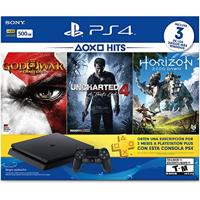 Console Playstation 4 500Gb + 3 Jogos (God Of War Iii, Uncharted 4 A Thiefs End, Horizon Zero Dawn)