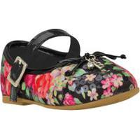Sapato Bebê Floral Preto - Bibi - 18