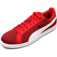 Tênis Puma Smash Knit Vermelho/Branco