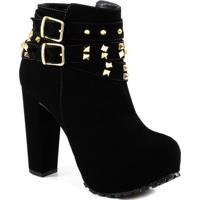 Ankle Boot Lita Com Fivelas E Spikes Sapato Show 1120796