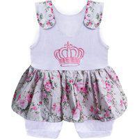 Macacão Padroeira Baby Coroa Floral Rosa