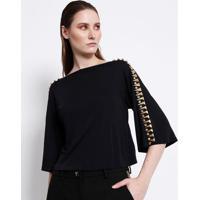 Blusa Com Aviamentos & Brilho - Preta & Dourada - Veversace Collection