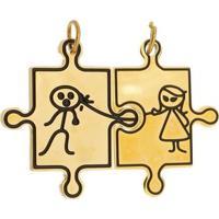 Pingente Casal Tudo Joias De Aço Inox Dourado Modelo Dominó - Unissex-Dourado