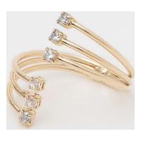 Anel Banhado A Ouro Com Zircã´Nia & Cristal- Dourado-Carolina Alcaide